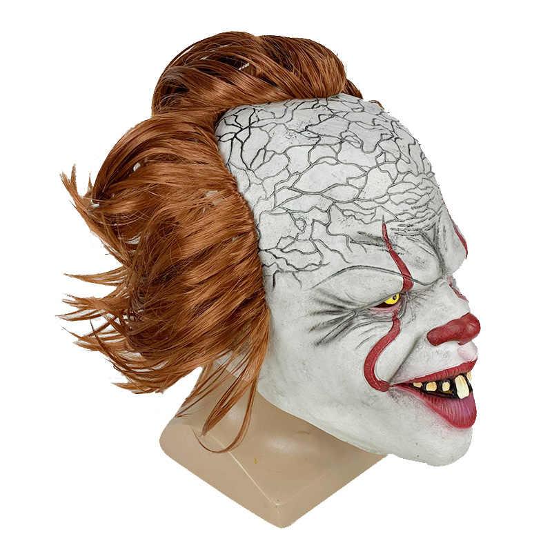 100pcs Stephen King's It Pennywise หน้ากากวิกผม Latex หน้ากากฮาโลวีนน่ากลัวคอสเพลย์ Clown หน้ากาก Prop Terror party Prop