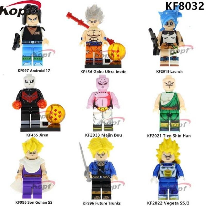 KOPF Super Heroes Dragon Ball Z Figures Son Gohan SS Majin Buu Future Trunks Vegeta Building Blocks Children Kids Toys KF8032