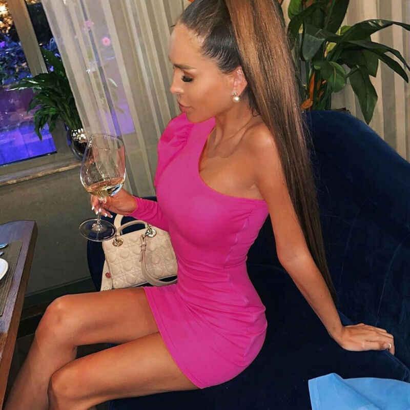 النساء Bodycon كم واحد طويل نفخة الأكمام اللباس ضئيلة قبالة الكتف مساء حزب النادي قصيرة البسيطة فستان الشمس