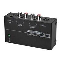 Pré-amplificador ultra-compacto do pré-amplificador do phono com rca 1/4 Polegada interfaces do trs preamplificador phono (plugue dos eua)