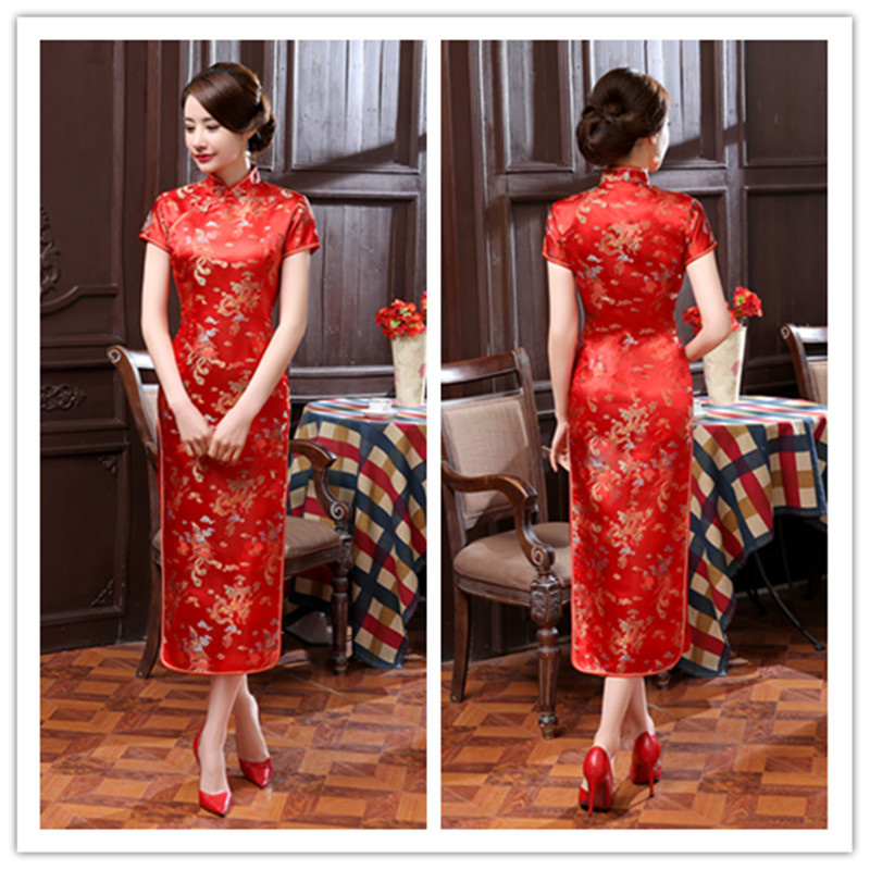 elegante mulher bordado compartilhar floral vestido feminino bodycon cheongsam