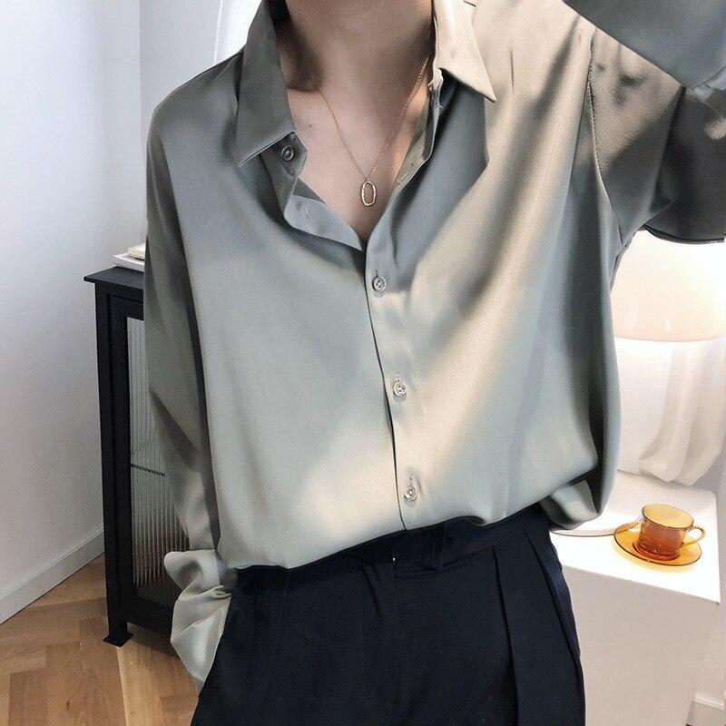Satin Chiffon Shirts Women 2020 Spring Design Light Mature Pure Color Satin Tops Loose Turn-down Collar Shirt Cardigan