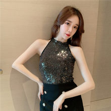 Summer New Style WOMEN'S Dress Trend of Fashion Sleeveless Sequin Small Vest Slim Fit Slimming Versatile off-Shoulder Base on Cl(China)