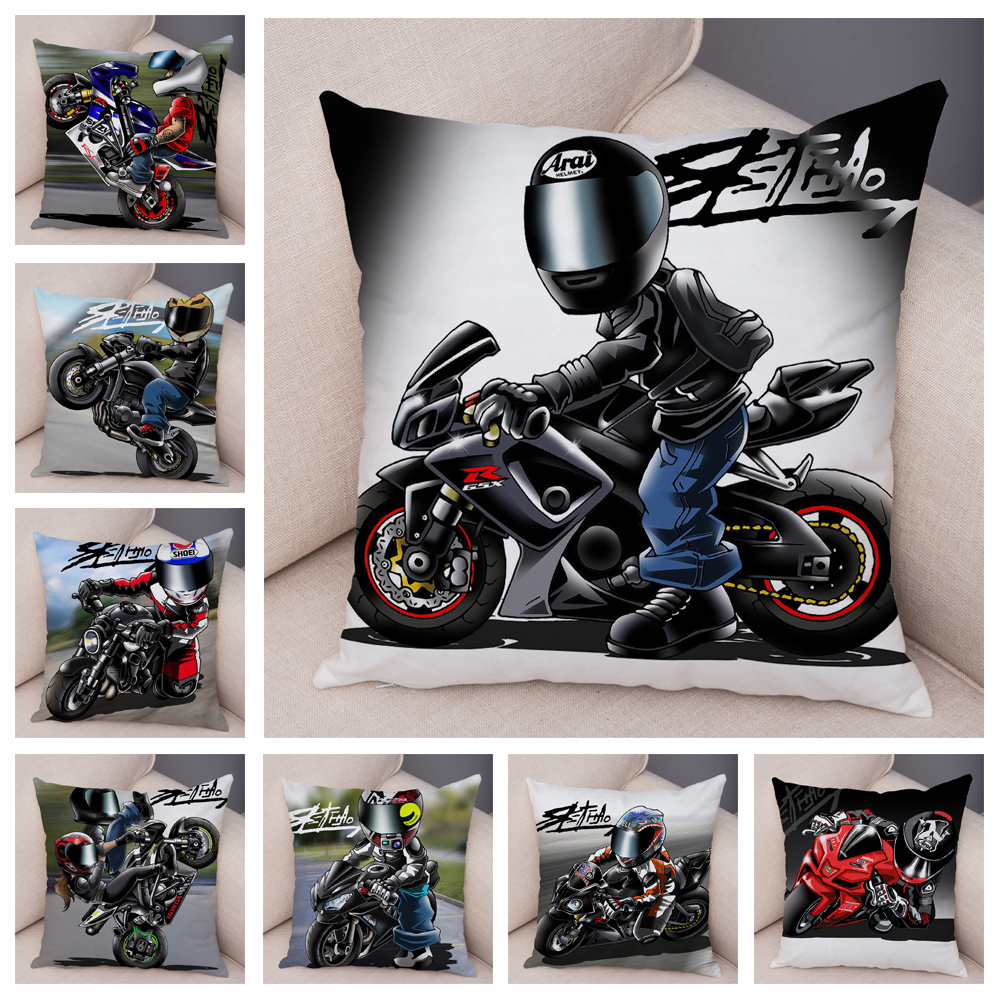 Extreme Sports Cushion Cover Decor Cartoon Motorcycle Pillowcase Soft Plush Colorful Mobile Bike Pillow Case for Sofa Home Car 1