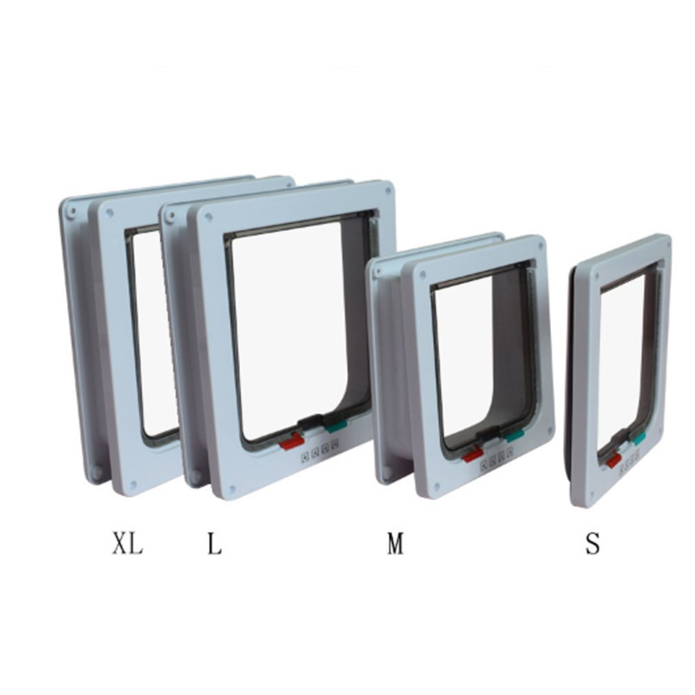 4 Ways Lockable Dog Cat Door Security Flap Gate Pet Supplies Animal Pet Cat Cage Door Pets Products Size S M L XL