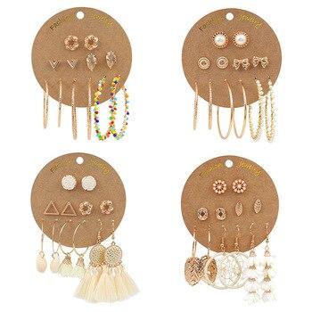 Luokey Women Bohemian Gold Color Ethnic Tassel Hoop Earrings Set Beads Bowknot Flower Vintage Ear Rings Female Statement Jewelry цена 2017