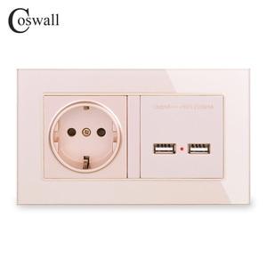 Image 2 - COSWALL Steckdose EU Standard Steckdose Mit Dual USB Smart Induktion Ladung Port Für Mobile 2,1 EINE Kristall Glas panel