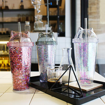Plastic Cup With Straw Sequin Double Layer Water Bottle Cat Ear Cute Tumbler For Birthday Gift Summer Drinkware Dropshipping