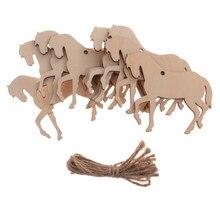 10 個のギフトタグ木材 mdf タグ馬シェイプ工芸装飾塗装装飾タグスクラップブックバー店飾りワット/ロープ