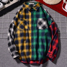 Men Shirt Hip Hop 2019 New Arrival Spring And Autumn Patchwork Plaid Long Sleeve Male Teenage Boy Japanese Style S10