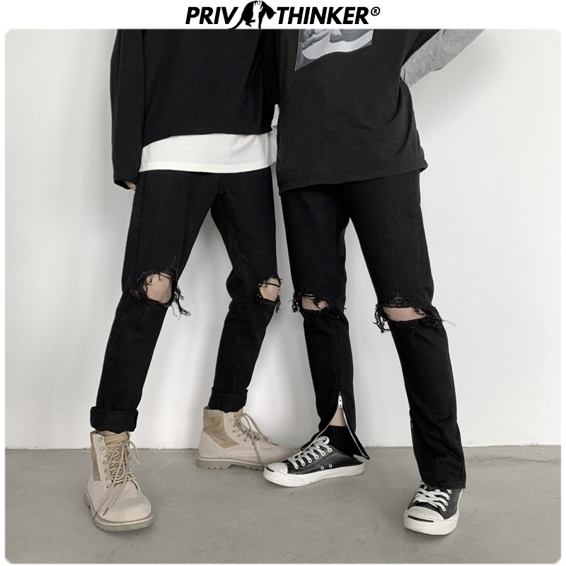 Privathinker 2020 Mens Ripped Loose Korean Jeans Men's Vintage Hole Pants Destroyed Frayed Trousers Male Streetwear Denim Pants