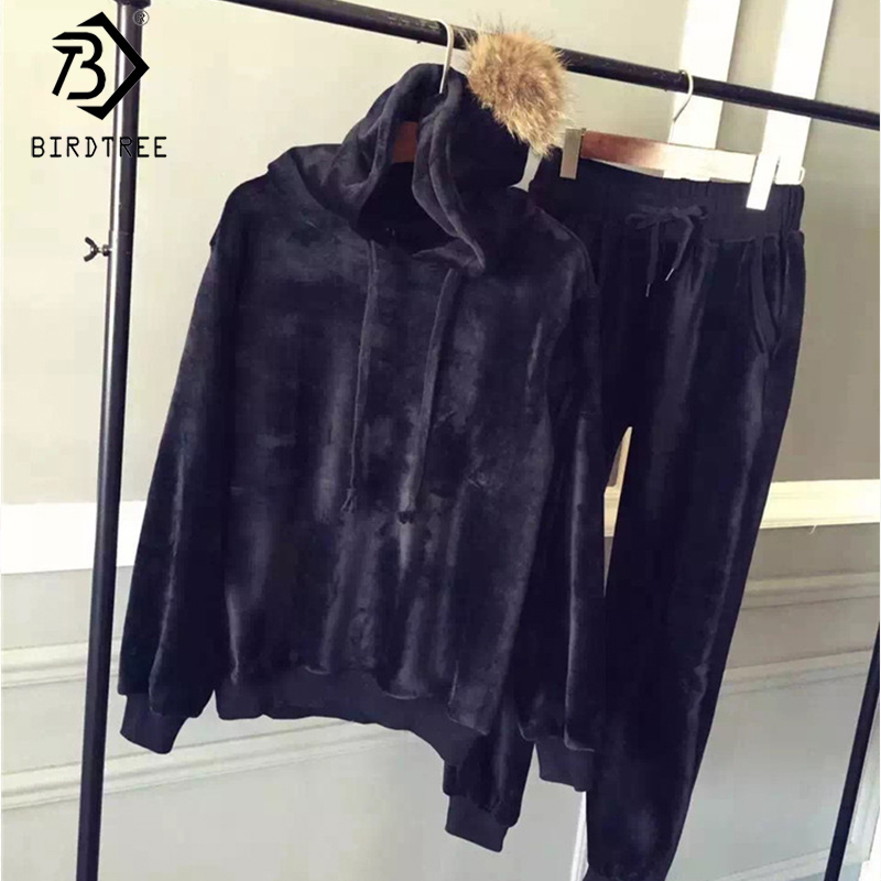 2019 Winter New Women's Velvet Hooded Tracksuits Fur Two Pieces Set Pockets Full Sleeve Elastic Waist Female Suits S9N308K