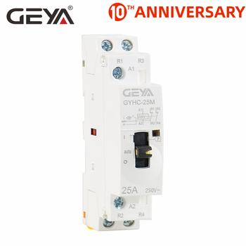 Darmowa wysyłka GEYA 2P 16A 20A 25A 2NC 220V 50 60Hz sterowanie ręczne użytku domowego AC stycznik typ szyny Din tanie i dobre opinie Other GYHC Modular Contactor Manual