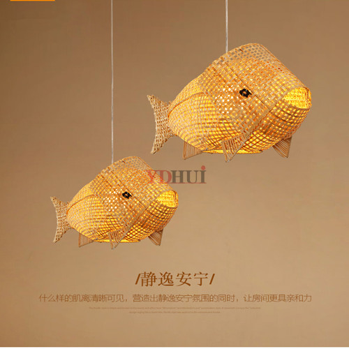 Natural Bamboo Wicker Rattan Fish Pendant Light Fixture Art Deco Style Suspension Ceiling Lamp Designer For Dining Table Room