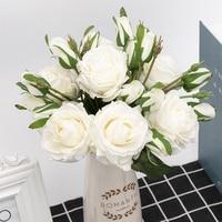 Ramo de flores de látex Rosa artificial, 2 brotes, flores sintéticas para boda, decoración de Navidad, color blanco