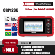 LAUNCH X431 CRP123X skaner samochodowy OBD2 samochodowy czytnik kodów skaner ABS SRS skrzynia biegów narzędzie diagnostyczne PK CRP123