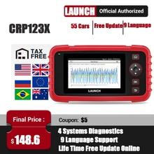 LAUNCH lector de códigos para automóvil escáner automotriz X431 CRP123X OBD2, herramienta de diagnóstico de coche, motor de transmisión ABS SRS PK CRP123