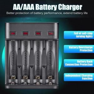 Image 2 - battery charger 4 slot USB charger 4 Slots Fast Charging Intelligent AA/AAA Rechargeable USB Battery Charger 4A battery charger