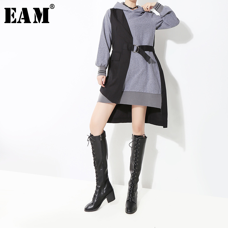 [EAM]Women Gray Split Hit Color Temperament Asymmetrical Dress New Hooded Long Sleeve Loose Fit Fashion Spring Autumn 2020 1D755