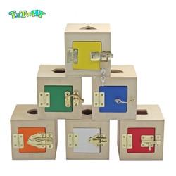Montessori brinquedos de madeira caixa de bloqueio forma correspondência crianças caixa de bloqueio de madeira 6 em 1 aprendizagem montessori materiais brinquedos de madeira pré-escolar
