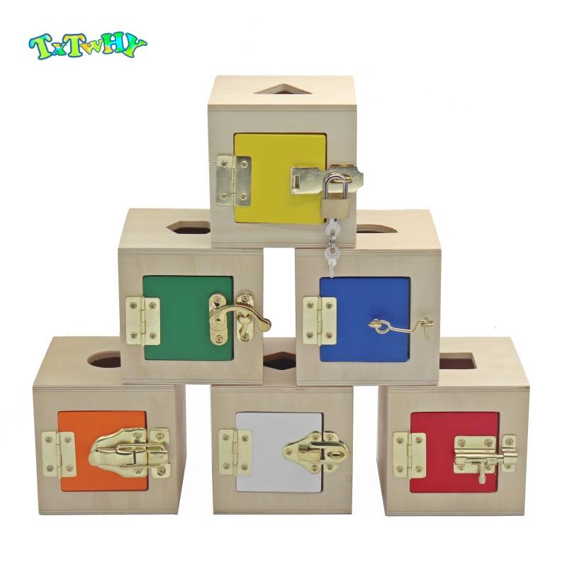 Montessori Wooden Toys Lock Box Shape Matching Kids Wooden Lock Box 6 In 1 Learning Montessori Materials Preschool Wooden Toys