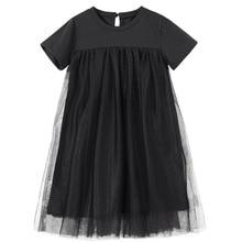 Новинка 2020, детская одежда, платья для маленьких принцесс, Сетчатое лоскутное вечернее платье для девочек, летнее платье для подростков и детей, симпатичное Хлопковое платье, #8402
