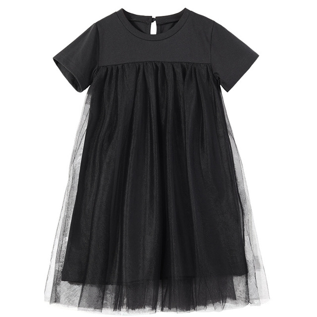 Nowy 2020 odzież dziecięca dziecko księżniczka sukienki siatkowy Patchwork sukienka dla dziewczynek na imprezę nastoletnia dziecięca letnia sukienka bawełniana śliczna, #8402
