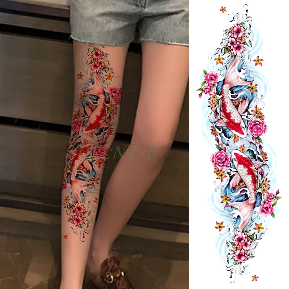 Waterproof Temporary Tattoo Sticker Carp Fish Flower Full Arm Fake Tatto Flash Tatoo Sleeve Large Size For Girl Men Women Lady
