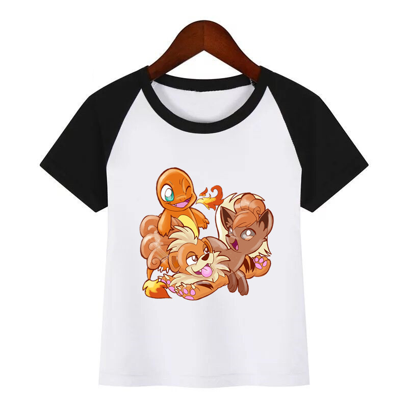 Boys Girls POKEMON GO Funny T-shirt Children Fire/Water/Shiny Grass/Fairy Type Cartoon Tshirt Kids Summer Tops Baby Clothes image