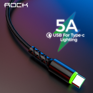 ROCK 5A Super Fast USB C Cable For Xiaomi Mi 9 Quick Charge 3.0 Data USB Type C Charging Cables for Samsung S8 S10 S9 Cabo Wire