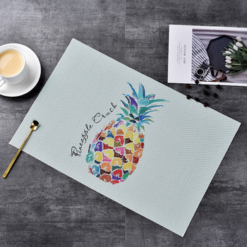 4 pieces of PVC cartoon pineapple placemat western placemat heat and heat resistant oil filling and anti-scalding placemat фото