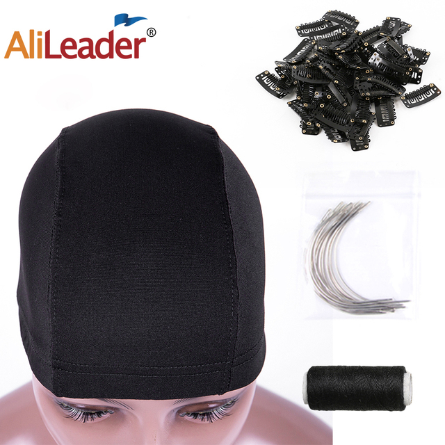 Alileader Spandex Elastic Dome Cap With 12Pcs C Style Cured Needles For Making Wigs And 50M Sewing Thead With Hair Wigs Clips