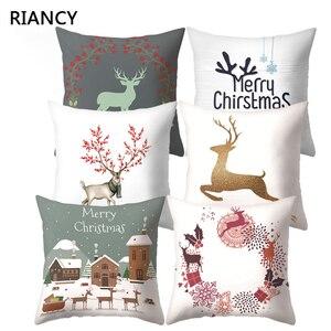 Наволочка на Рождество с милым оленем, декоративная подушка, Новогоднее украшение для дома, наволочка из полиэстера 40543