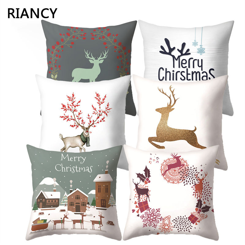 Lovely Elk Deer <font><b>Christmas</b></font> Cushion Cover Decorative Throw Pillow Xmas New Year Decor Home Decoration Polyester Pillowcase 40543 image