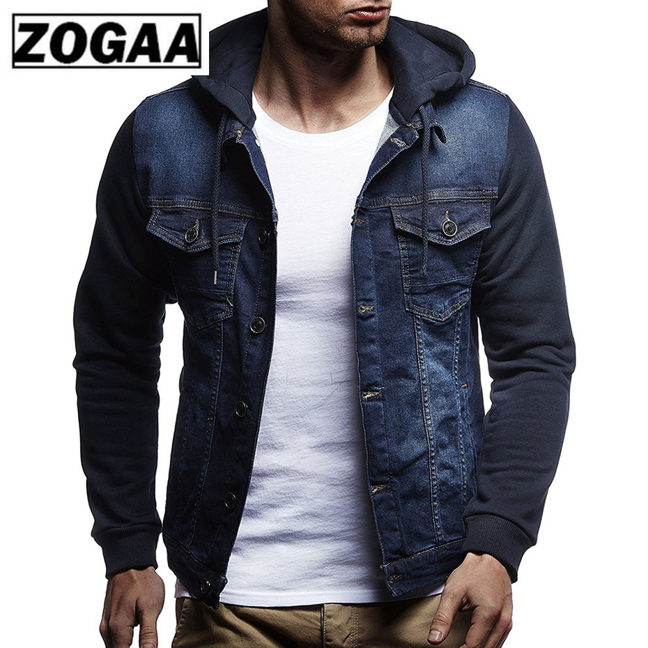Zogaa Men's New Fashion Men Cowboy Jacket Coat Cotton Slim Fit Single Breasted Hooded Jackets And Coats Plus Size Man Clothing