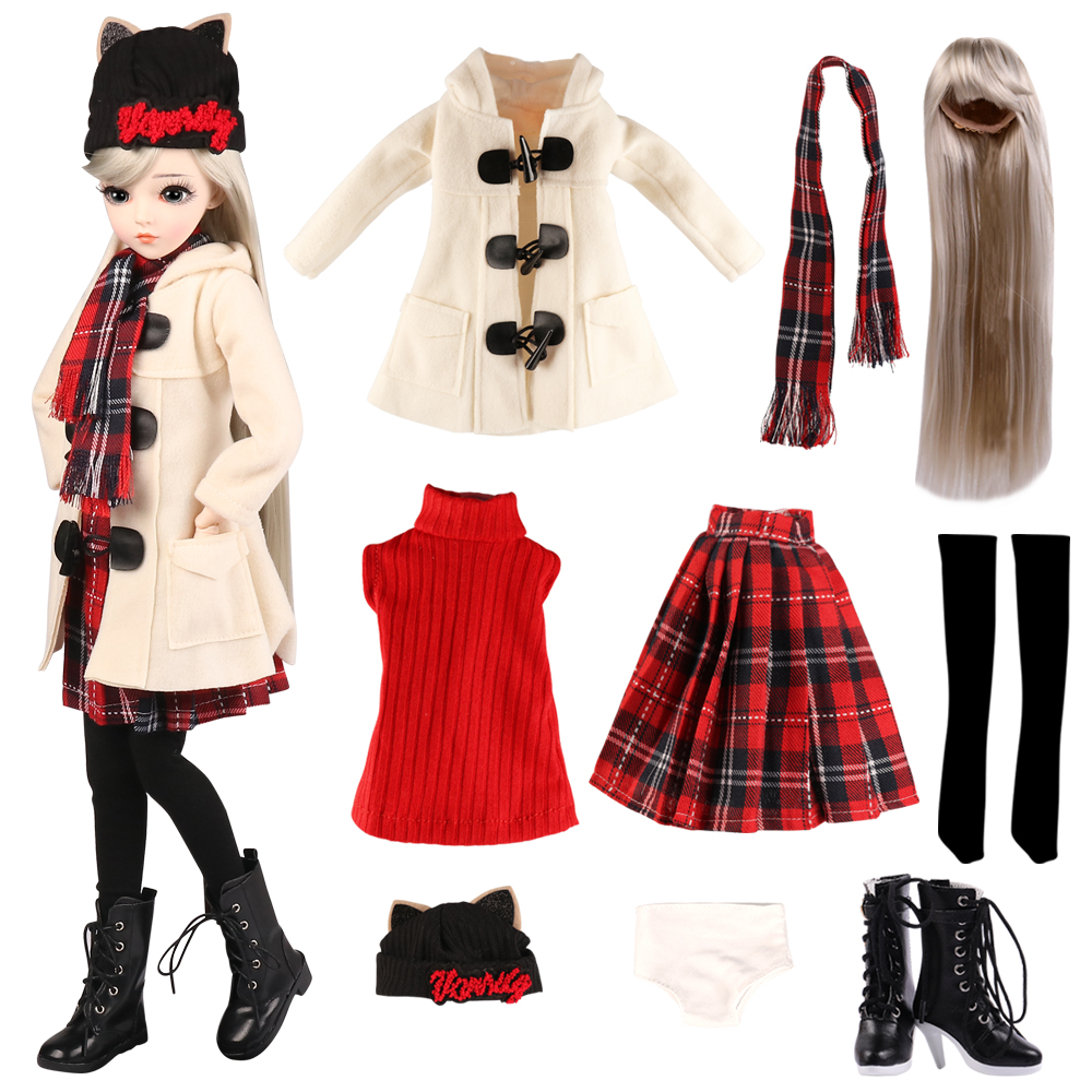UCanaan 1/3 BJD Doll Accessories Outfits Fashion Clothes Set Wig Shoes For 60CM Dolls Girls DIY Dress UP Toys Accessories