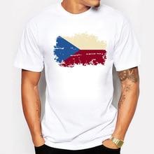 Czech Republic National Flag Men's printed T Shirts Short Sl