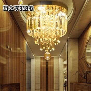 イタリア軽高級ラウンドクリアクリスタル天井ランプ廊下の照明寝室の装飾