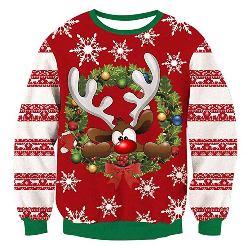 Christmas Sweater 3d Pullover Antler Print Novelty Ugly Christmas Sweater Unisex Men Women O Neck Long Sleeve Pullover Sweater