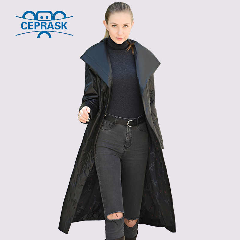 CEPRASK 2020 고품질 여성 코트 봄 가을 얇은 파카 X-긴 플러스 크기 6XL 새로운 디자인 유럽 벨트 여성 자 켓