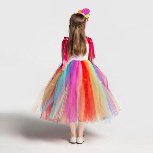 Image 5 - Радужный костюм для девочек на день рождения; Платье пачка с бантом и радужным леденцом; Платье для карнавала; Вечерние повязки на голову