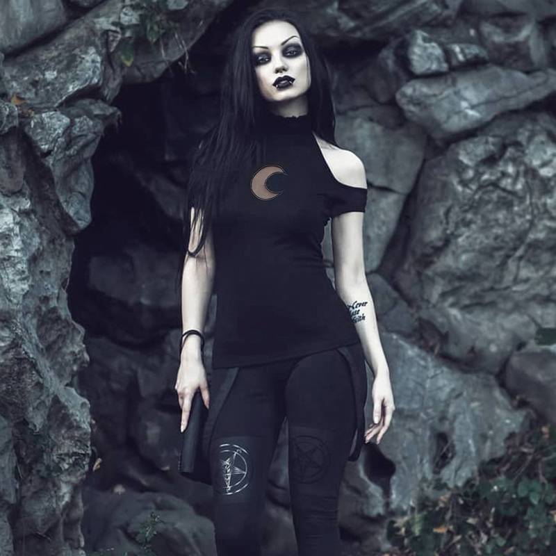 H4adbf0453de542d1965e537e9b024360n - InsGoth Sexy Off Shoulder Black Halter T-shirts Women Gothic Punk Moon Hollow Out Bodycon Female Tops Blackless Cotton Tees