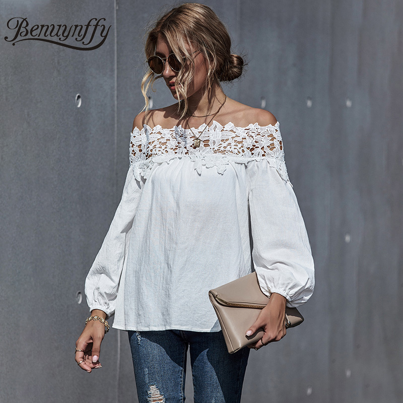 Benuynffy White Lace Patchwork Off Shoulder Top Blouse Women 2020 Autumn Slash neck Long Sleeve Casual Ladies Tops And Blouses|Blouses & Shirts| - AliExpress