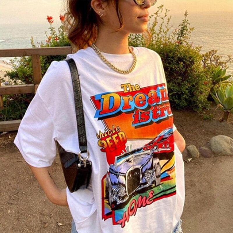 Белые ботфорты Размеры d футболка для женщин 2021 Лето Harajuku с буквенным принтом с принтом в виде машинок, короткий рукав, Графический Футболка ...