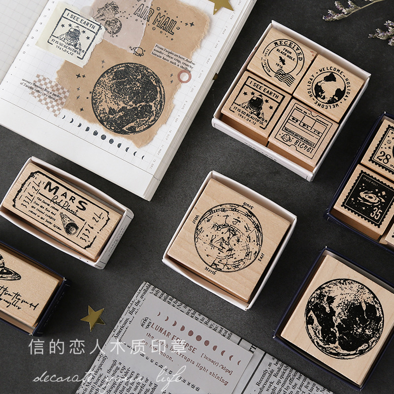 1PC Vintage Cosmic Travel Moon Label Stamp DIY Wooden Rubber Stamps For Scrapbooking Cute Planet Seal