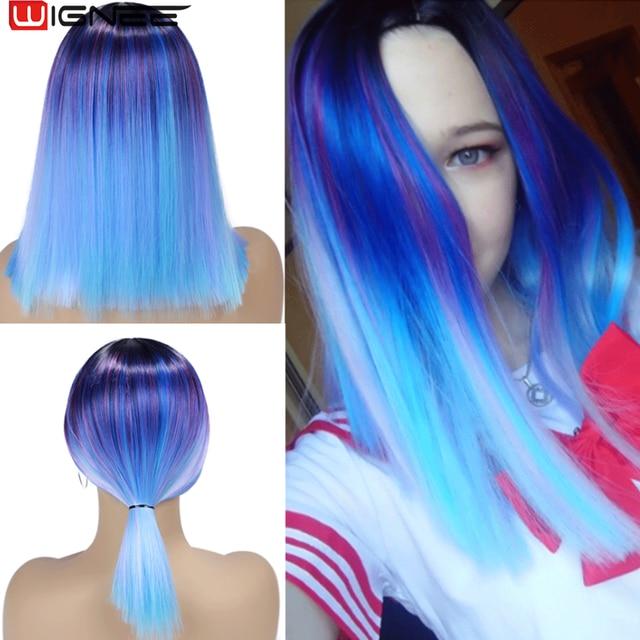Wignee קצר ישר שיער סינטטי פאות מעורב סגול/כחול טבעי שחור קשת פאת Glueless קוספליי נשים שיער יומי פאות