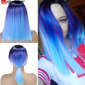 Wignee Short Straight Hair Synthetic Wigs Mixed Purple/Blue Natural Black Rainbow Wig Glueless Cosplay Women Hair Daily Wigs touken ranbu online atsu toushirou wig short black straight hair cosplay wig anime hair wigs