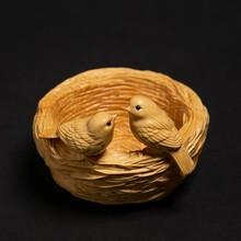 Nido de Pájaro de boj Retro nuevo chino habitación decoración artesanía de talla de madera de decoración pájaro creativo do par de