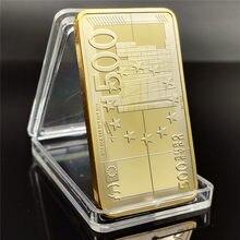 Barra de ouro europeia banhado a ouro barras de metal 500 euro notas de lembrança barras festival presentes coleção não-moeda moedas