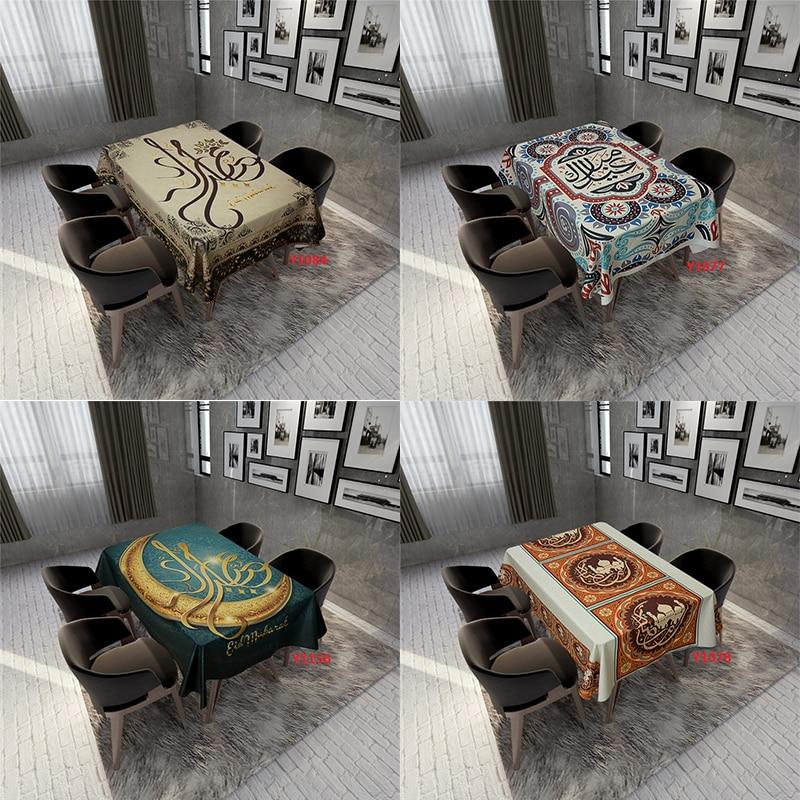 Muslim Eid Mubarak Printed Tablecloth Waterproof Rectangle Dining Tablecloth Kitchen Table Cover Ramadan Kareem Islamic Decor